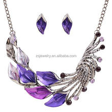saudi gold jewelry costume jewelry retro necklace color drill curved leaves short chain sweater sets baby jewelry