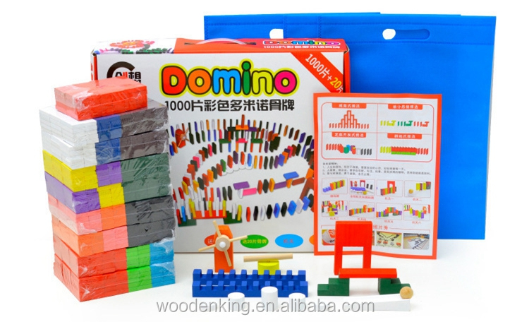 1000 Pieces Color Children Organ Played Dominoes Clear Brick Wooden Professional Domino Wood