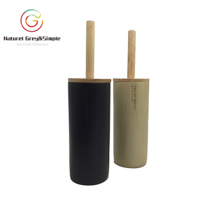 Wooden Look Brush Holder Polyresin Black White Porcelain Ceramic Look Toilet Brush Holder