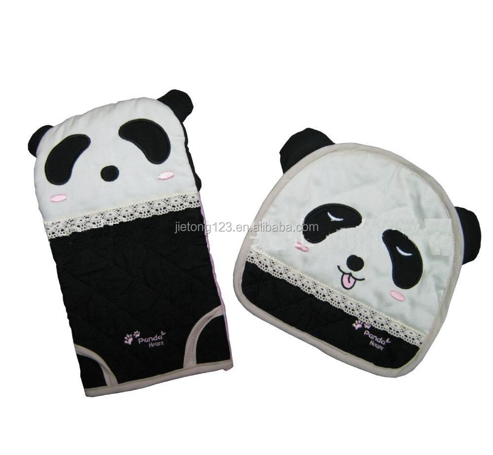 Panda Patroon Bakkerij Oven Handschoenen Met Pannenlap 2 pcs Katoen Ovenwanten