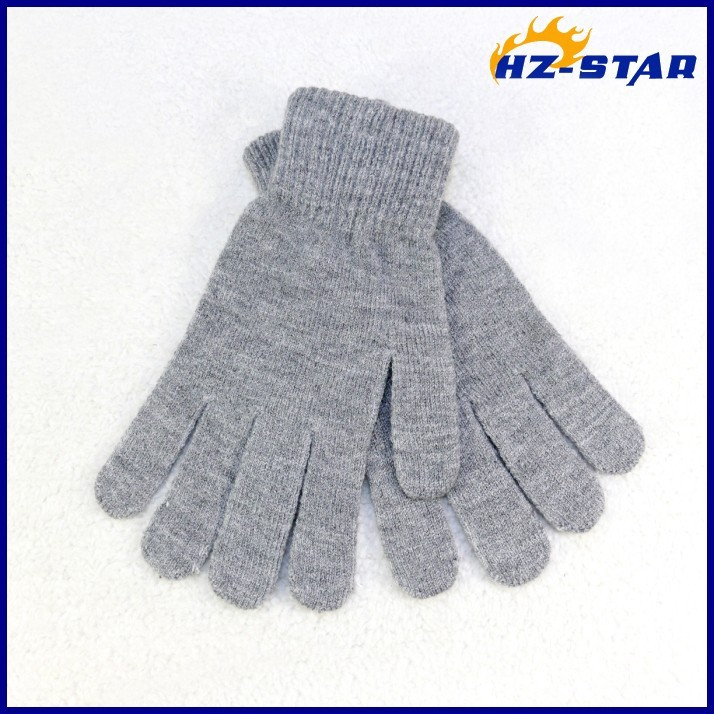 HZS-13203008 the newest cute screen best bike screen black acrylic winter warm fashion finger touch grey gloves for children