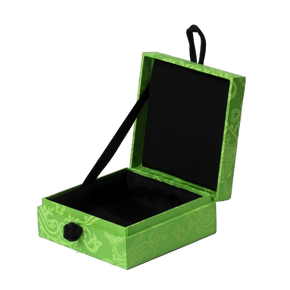 Olive green wooden jewelry satin cloth surface special box
