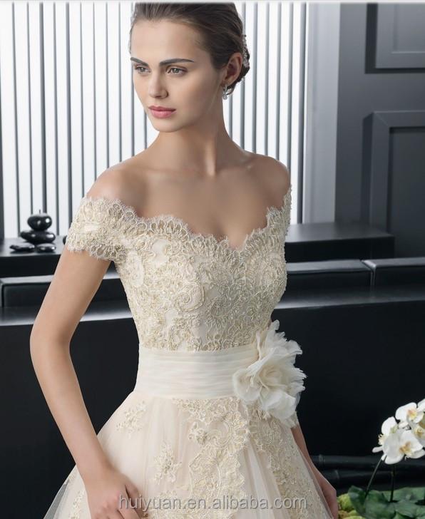 Champagne elegant v neck ball gown lace wedding dress cap for Wedding dresses princess cut