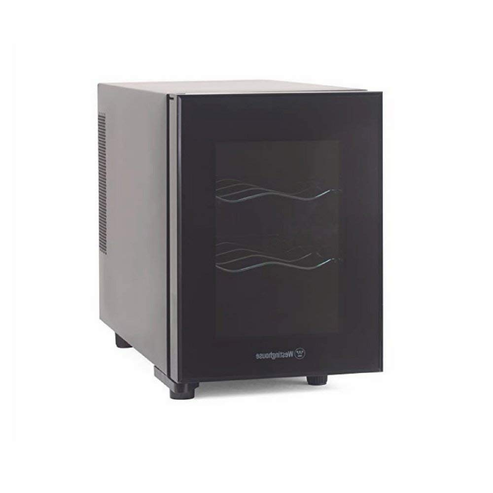 Wine Cooler Dispenser, Low-Noise Compressor, 6-Bottle, Dark Grey, Contemporary Design, Low Power Consumption, 2-Shelf & eBook Home Décor