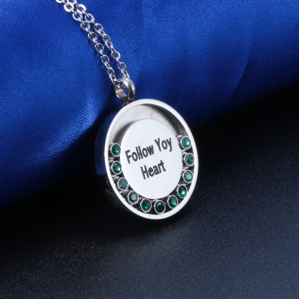 2019 New Arrival Removable Birthstone Stainless Steel Inital Letter Number Design Jewelry Necklace Women