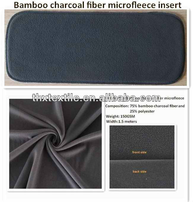 Eco-friendly new arrival bamboo charcoal fiber microfleece cloth diaper insert