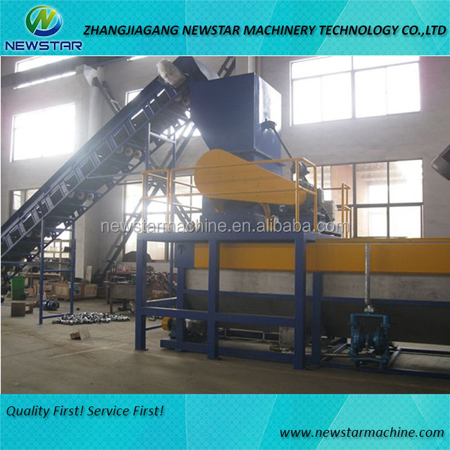 Waste plastic crushing and washing machine for recycling