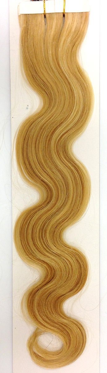 Seamless Hair Extensions Color: 27/613 Light Mixed Blonde - Wavy