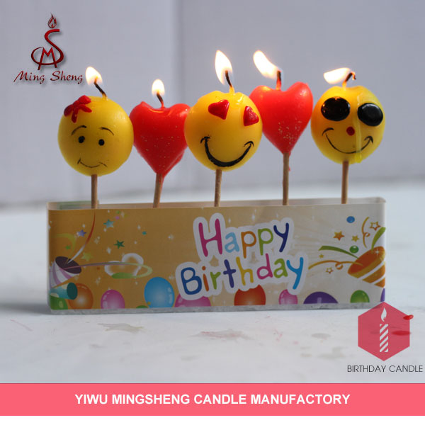 5pcs toothstick smile face unusual Birthday Candles