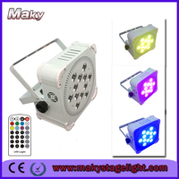 6XLOTs free shipping China 6in1 Battery Powered Flat Wireless Led Par Can 12*18W RGBWAUV led cube par light DJs disco light