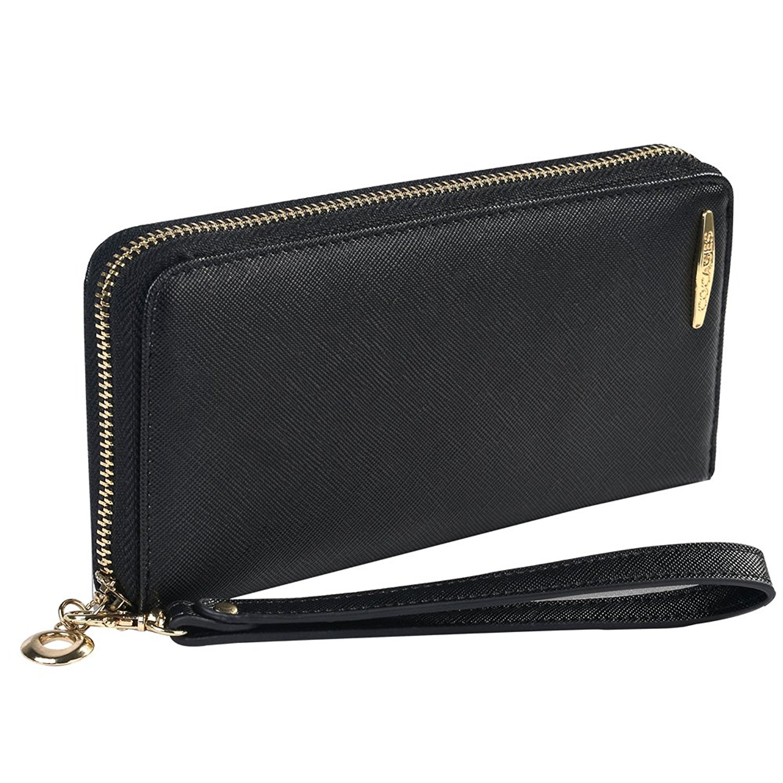 Women Credit Card Wallet, COCASES RFID Blocking PU Leather Zipper Women Wallet Card Slot Wrist Strap