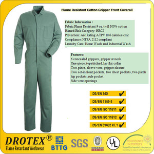 Arc Rating ATPV 10.6 cal Flame Resistant Cotton Gripper Front Coverall/ Flame Resistant 9 oz twill 100% cotton Fabric-HRC2