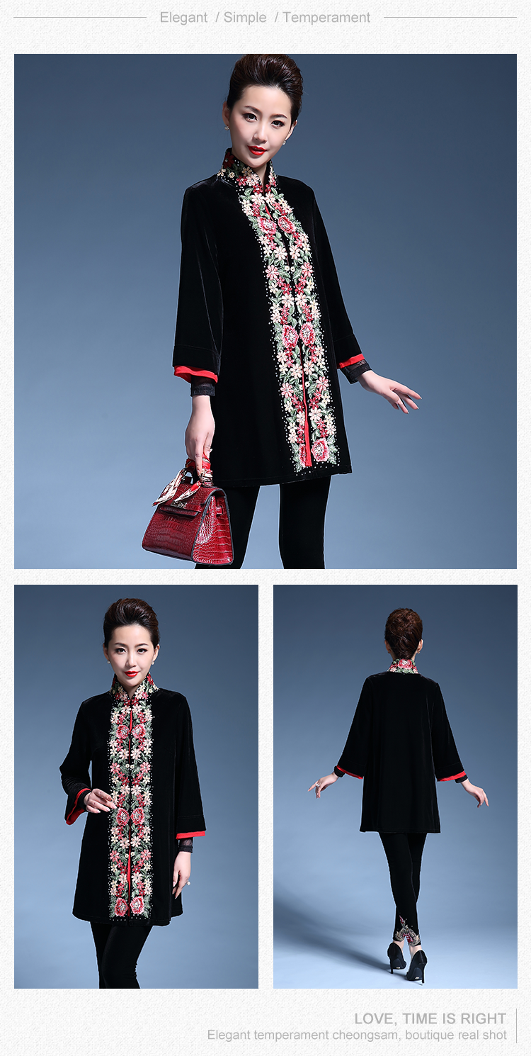 Best selling Wholesale Professional customized embroidery shuttle chiffon thickened cotton coat velvet