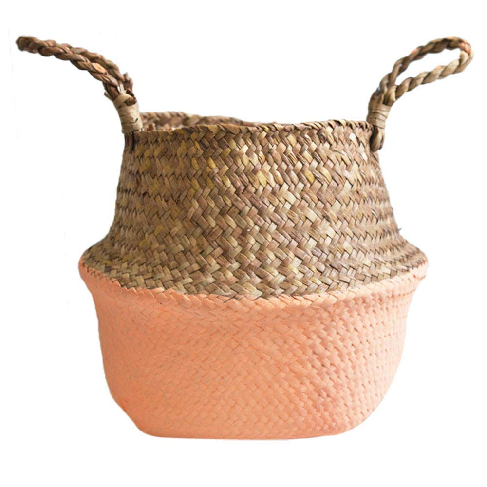 Seagrass Wicker Basket Wicker Flower Pot Folding Dirty Seaweed Woven Flowerpot Foldable Flower Basket (Orange)