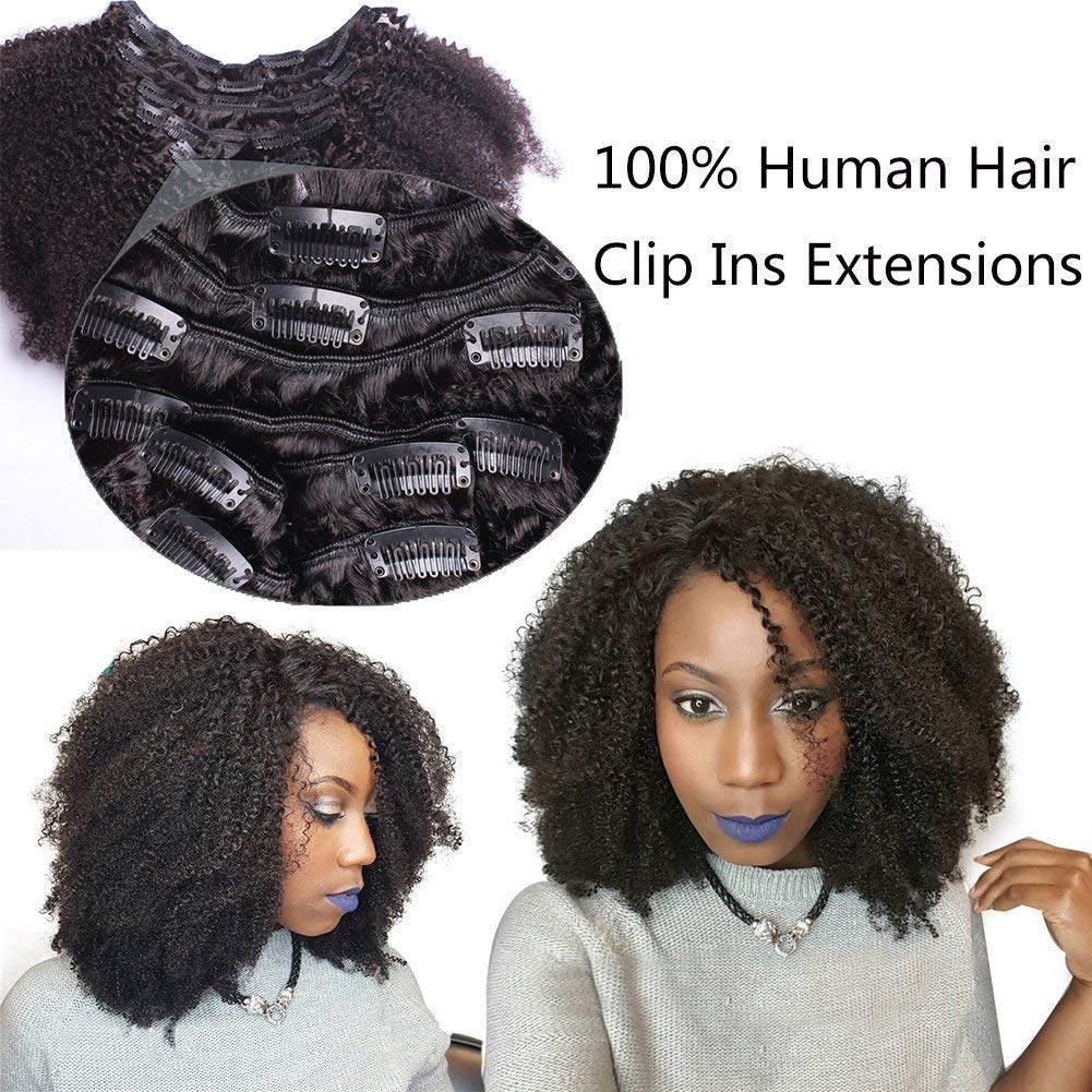"4B 4C Afro Kinky Curly Hair Clip Ins 100 Virgin Human Hair Clip In Extensions Full Head African American Hair for Black Women 16""inch Natural Black #1B 7Pcs/set,120 Gram"