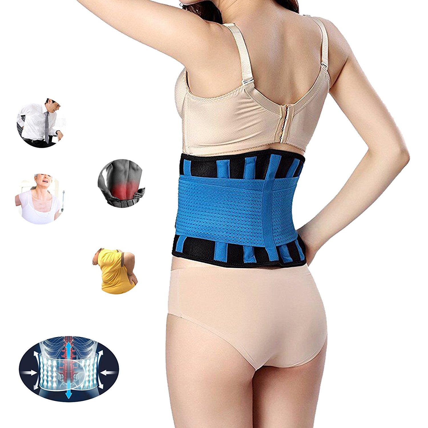 b4040675ad5 Get Quotations · Lumbar Support Belt Protect Waist for Women and Men- Lower  Back Brace for Back Pain