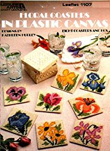 Leisure Arts Leaflet 1107 : Floral Coasters in Plastic Canvas (8 Coasters and Box)