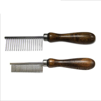 06-0879 Walnut Handle Pet Comb Stainless Steel Straightener Comb Flea Comb Dog Hair Clean Grooming Tools