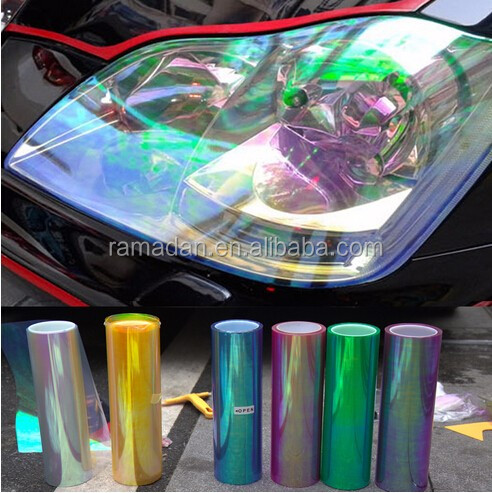 High quality wholesale 0.3x10m Headlight Color Vinyl Sticker Tinting Film Chameleon