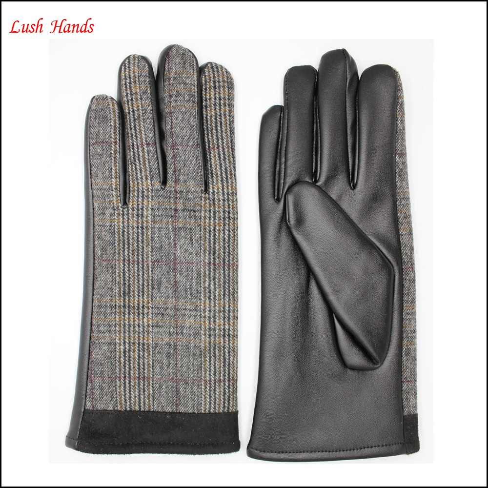 fashion women 's grey fabric and plam PU leather and pigsuede gloves