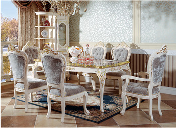 French Rococo Luxurious Veneer Embedded Dining Table Golden And Ivory Color Chair Moq