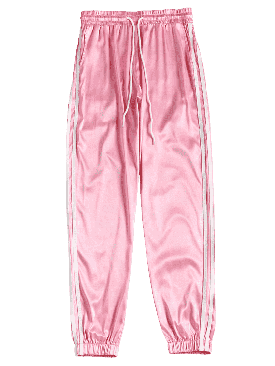 pig pink High Waist Striped Piping Drawstring Straight trendy pockets casual sporty jogger athletic pants