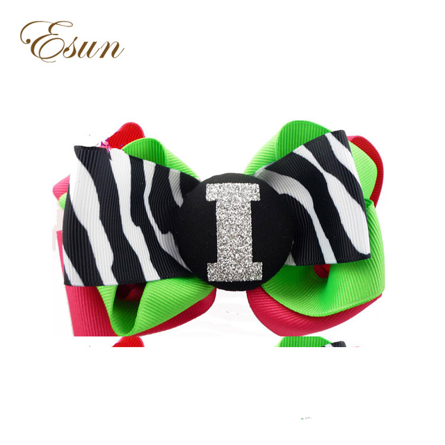 New Style Ribbon Glitter Zebra Sparkle Initial Personalized Name Girls Sports Design Hair Bow