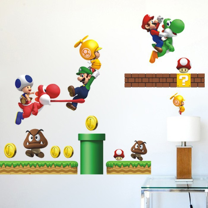 AY621 Wall Stickers Super Mario environmental quality PVC transparent third-generation removable wall stickers a generation of f