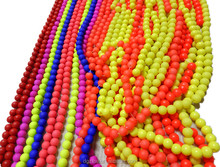 CZX110717 Fully Drilled RED BLUE YELLOW PINK 8mm Matte China Glass Beads Paint Pearl