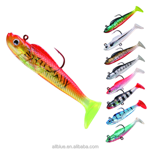 ALLBLUE Soft Bait Lead Head Fish Lures Fishing Tackle Sharp Hook With 3D Eyes Soft Peche