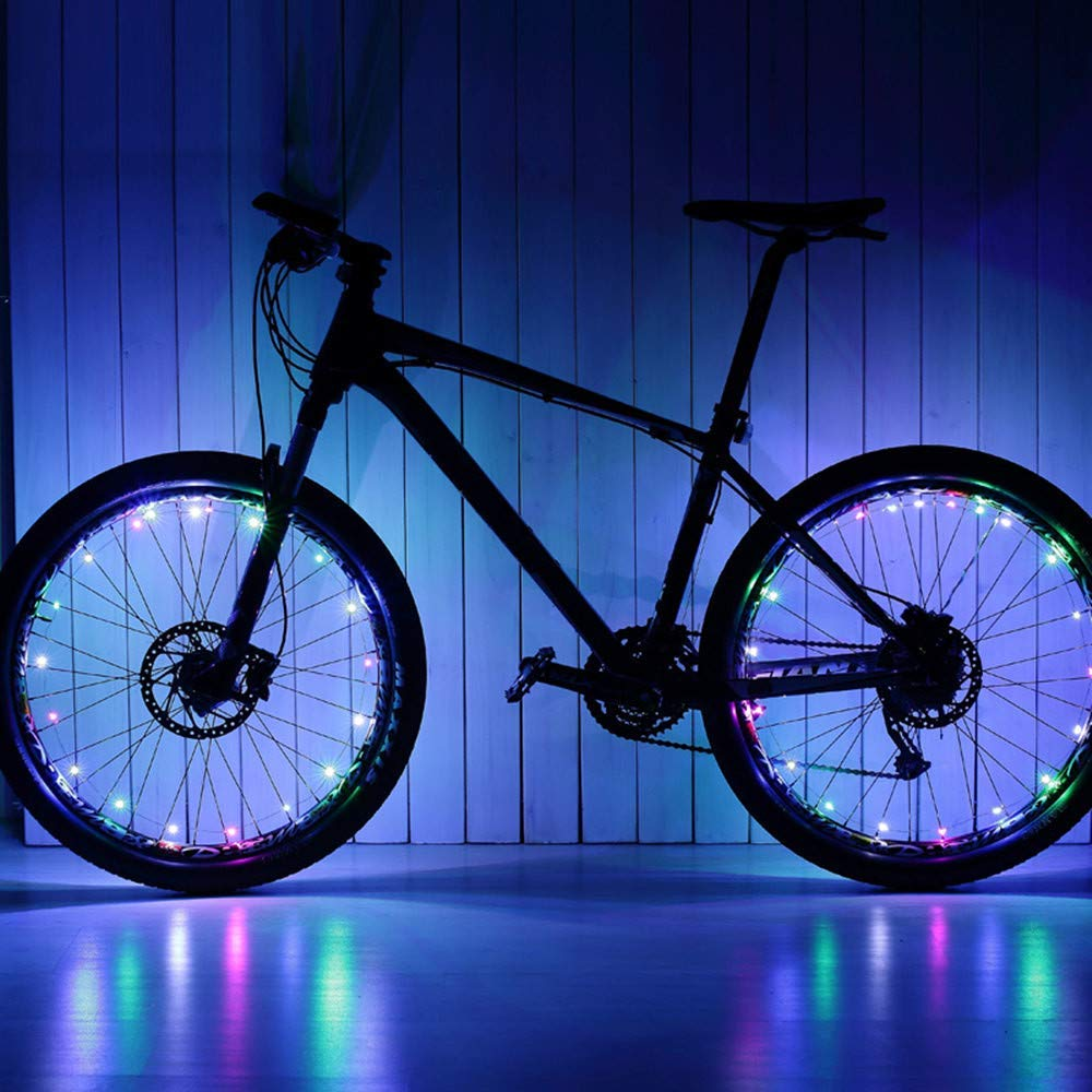 Glumes Bike Wheel String Lights, LED Waterproof Bicycle Spoke Light 20 LED 2 Light Modes Bicycle Rim Tire Lights for Mountain Bike/Road Bikes/BMX Bike/Hybrid Bike/Folding Bike Good Gift 2Pcs (multi)