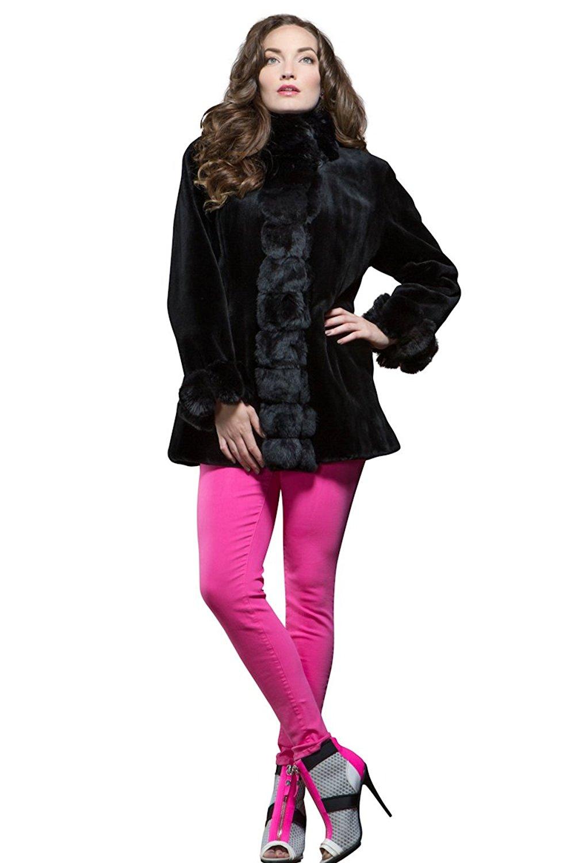 EM-EL Women's Reversible Black Sheared Mink and Chinchilla Fur Jacket