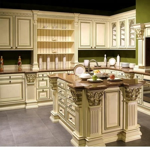 Solid Wood Carving Royal Italian Classical Kitchen Cabinet