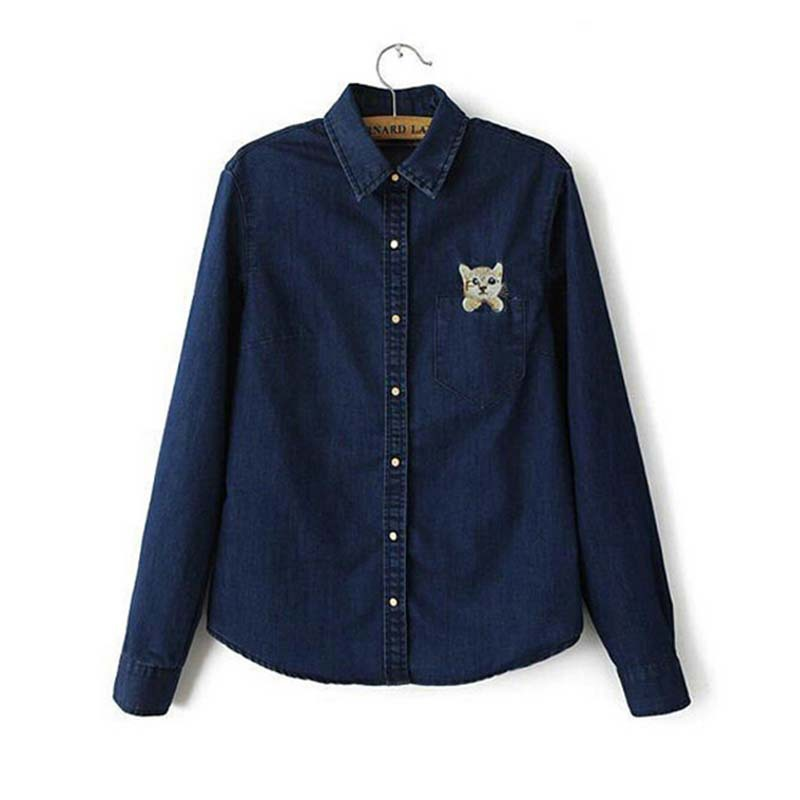 6f85f420c96 Get Quotations · New Fashion Women Spring Brand Adorable Cat Embroidery Long  Sleeve Denim shirt Blouse Ladies Jeans camisas
