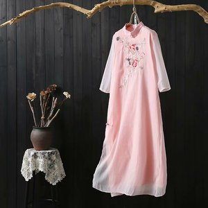 Spring and summer Chinese traditional dress pink color embroidered vintage long dresses