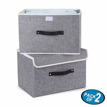 Set of Two Foldable Storage Box with Lids and Handles Storage Basket Storage Needs Containers Organizer With Built-in Cotton Fab