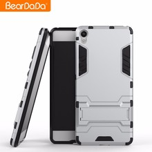 Shockproof kickstand tpu pc bumper case cover for sony xperia xa silver