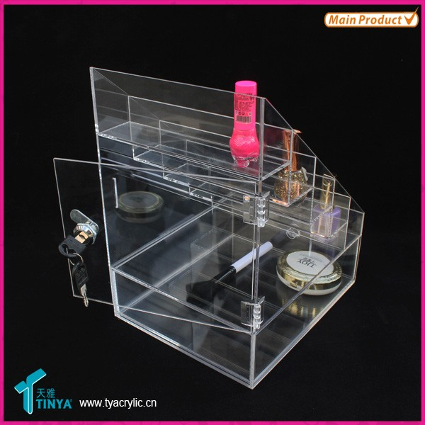 Custom Perspex Cosmetic Storage Créateur de maquillage Bijoux Showcase Acrylique Lockable Nail Polish Stand Rack Rack China Supplier