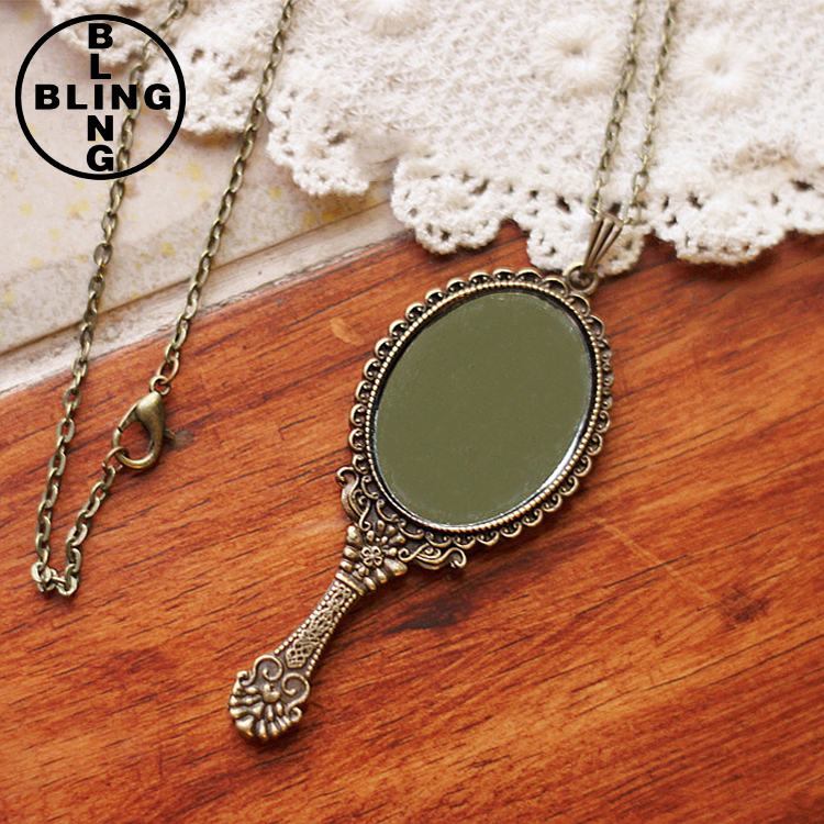 >>>2017 Fashion Women Jewelry Accessories Quality Vintage Small Mirror Long Pendant Necklace