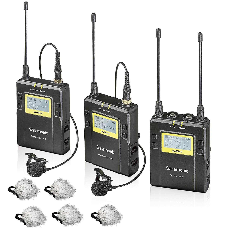 "Saramonic UWMIC9 96-Channel Digital UHF Wireless Lavalier Microphone System with 2 Bodypack Transmitters, Portable Receiver, 2 Lav Mics & Bonus""Deadcat"" Lav Mic Windscreens (RX9+TX9+TX9)"