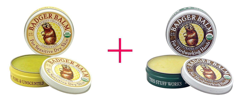 Badger Company, Badger Balm, For Sensitive Dry Skin, Unscented, 2 oz AND Badger Company, Badger Balm For Hardworking Hands, 2 oz - BUNDLE