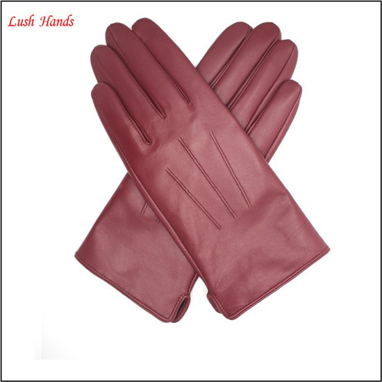 ladies sheepskin fashion dress leather gloves winter