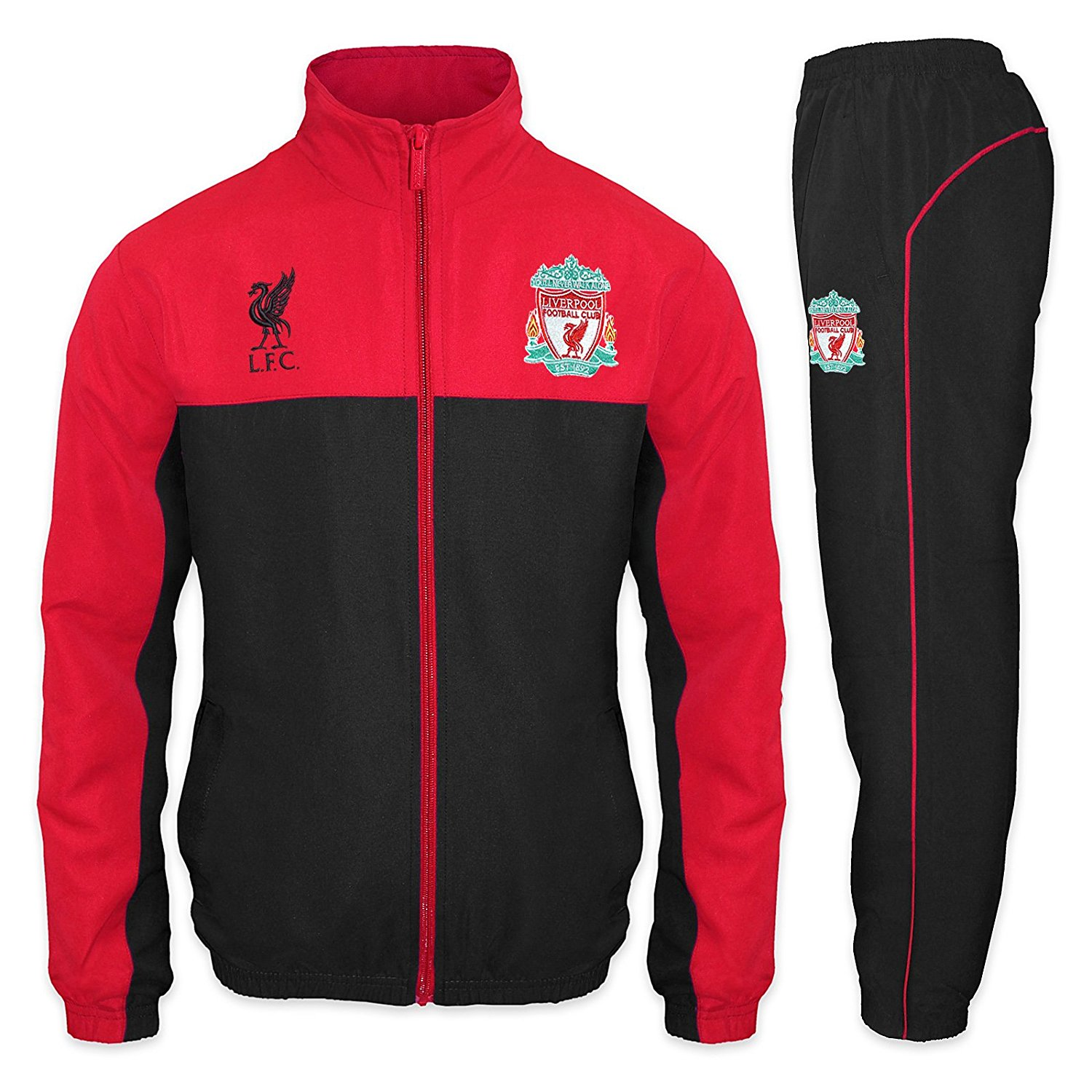 720e8adec Get Quotations · Liverpool Football Club Official Soccer Gift Mens Jacket &  Pants Tracksuit Set