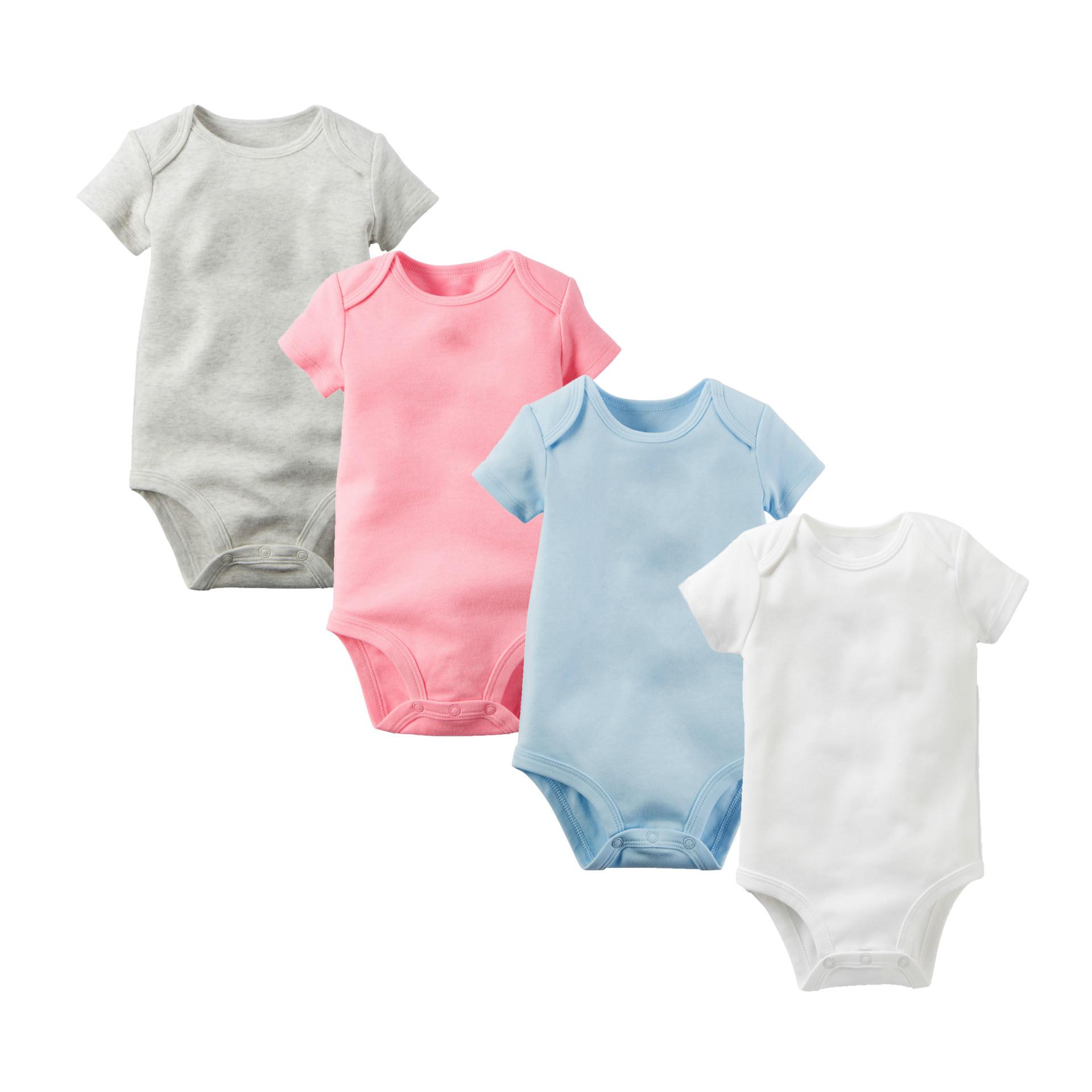 Al por mayor personalizado recién nacido frescas de algodón de manga corta estilo ropa de bebé niña blanco bebé mameluco