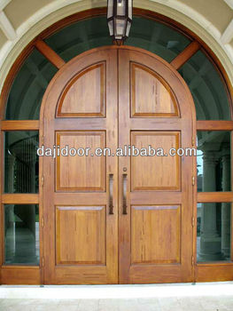 Round top wooden double door designs side lite surrounded for Round door design