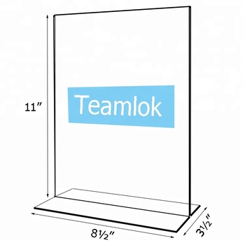 Double Sided Vertical T-shaped Acrylic Sign Holder for US size paper 8.5 x 11 inches Durable Quality Menu Ad Display