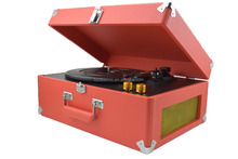Hot sale pvc leather suitcase record player with diamond stylus needle