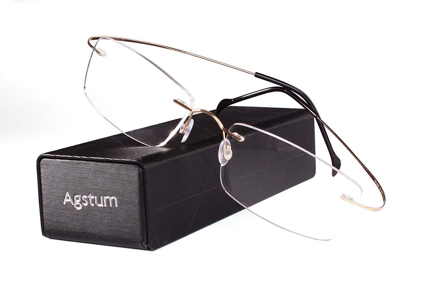 66e5e486467 Get Quotations · Agstum Pure Titanium Rimless Frame Prescription Hingeless Eyeglasses  Rx