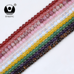 Multi Color Natural Gemstone Beads Lava Tiger Eye Rose Quartz Loose Stone Beads for jewelry making