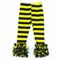 Ruffle Pants For Toddler Girl Wholesale Children's Boutique Clothing Baby Stripes Icing Legging